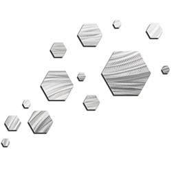 NAY Carbon Wave 66in x 50in Hexagons Abstract Art on Metal