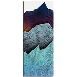 Richard Knight Cool Peaks 19in x 48in Abstract Landscape Art on Polymetal