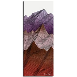 Richard Knight Warm Peaks 19in x 48in Abstract Landscape Art on Polymetal