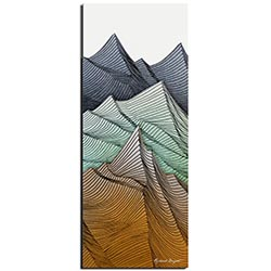 Richard Knight Earth Peaks 19in x 48in Abstract Landscape Art on Polymetal