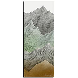 Richard Knight Mint Peaks 19in x 48in Abstract Landscape Art on Polymetal
