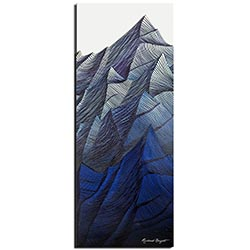 Richard Knight Frozen Peaks 19in x 48in Abstract Landscape Art on Polymetal