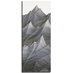 Richard Knight Stone Peaks 19in x 48in Abstract Landscape Art on Polymetal