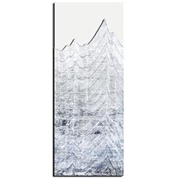Richard Knight Whitewashed Peaks 19in x 48in Abstract Landscape Art on Polymetal
