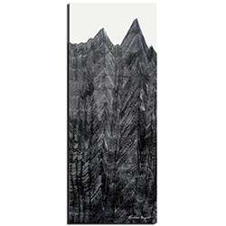 Richard Knight Midnight Peaks 19in x 48in Abstract Landscape Art on Polymetal