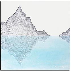 Richard Knight Glacial Mountains 22in x 22in Abstract Landscape Art on Polymetal