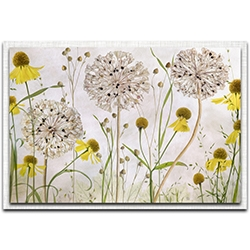 Mandy Disher Alliums and Heleniums 32in x 22in Modern Farmhouse Floral on Metal